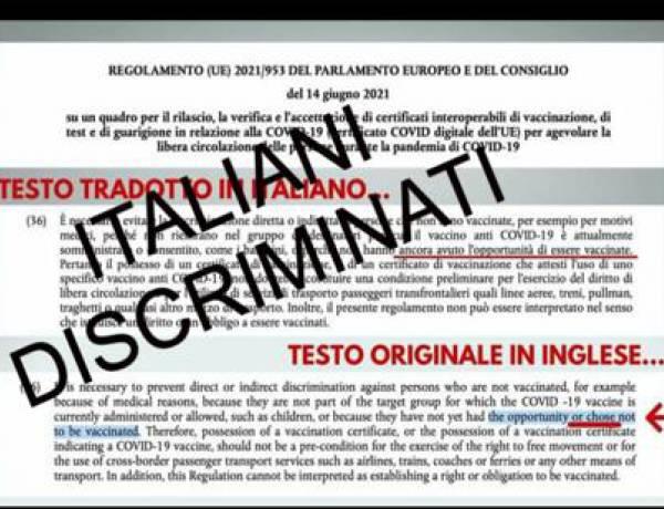 Green Pass UE: nella traduzione italiana scompare la libertà di non vaccinarsi